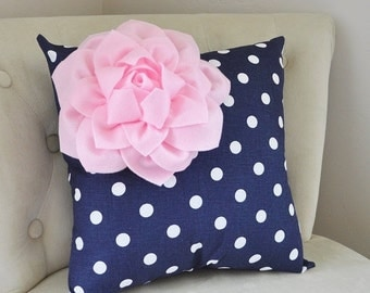 SALE Decorative Pillow Light Pink Corner Dahlia on Navy and White Polka Dot Pillow Home Decor Nursery Decor