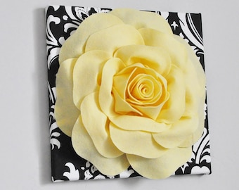 Yellow and Black Damask Rose art, Wool Felt Flower Unique Textured Wall Art 12 x 12 Canvas, Rose Nursery Art, Floral Wall Hanging, Bathroom