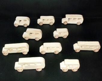 10 Handcrafted Wood Toy School Buses   OT-2  unfinished or finished
