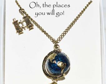 globe and binocular necklace w custom card. globe teacher gift, globe Traveler gift, globe expatriate gift, globestudy abroad student gift