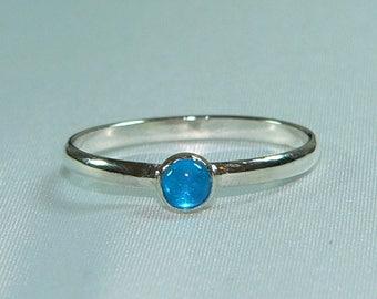 Carolina Sundance  Neon Blue Apatite Tiny 4mm  Apatite Stack Ring Sizes 6 to 9
