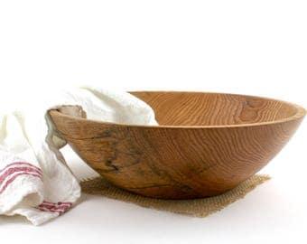 Large Red Oak  Bowl, Wood Oak Dish, Oak Fruit Bowl