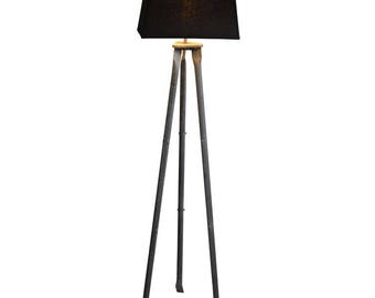 Floor Lamp from Industrial Galvanized Steel Tripod