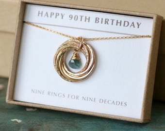 90th birthday gift for grandma, aquamarine necklace for mother, March birthstone jewellery, March birthday gift grandmom - Lilia