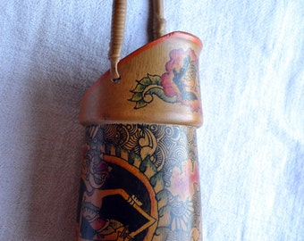 Indonesian shadow puppets on vintage bamboo brush pot /container /bucket with painted decoration wayang golek