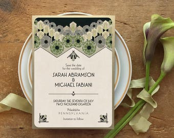 Save the Date, Save the Date Cards, Gatsby Wedding Invitation, Art Deco Save the Date, Art Deco Wedding Invitation, Art Deco - The Madison