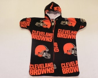 NFL CLEVELAND BROWNS Printed fleece Baby Bunting Coat Newborn  to 6 months