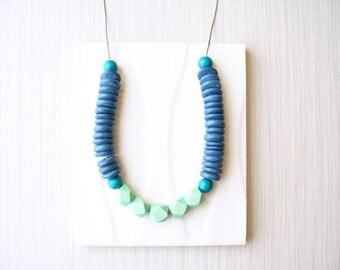 Modern Wood Necklace, 5th Anniversary Gift for Her, Blue, Mint Green, Teal, Statement Jewelry, Artsy, Funky, Heishi Beads