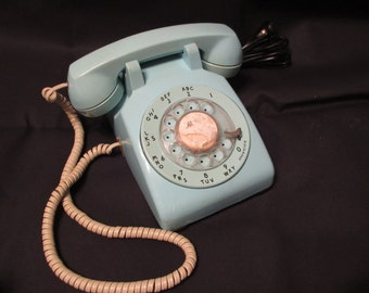 Vintage Aqua, Turquoise Blue Rotary Phone, Southern Bell Telephone, Retro, Collectible, Mid Century