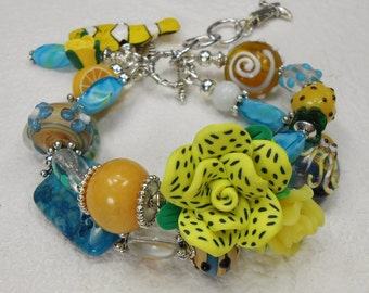 Beach Ocean Cruise Bracelet / Statement Double Strand Bracelet / Fish Bracelet / Yellow Blue Jewelry / Cruise Ocean - YELLOW BLUE OCEAN Fun