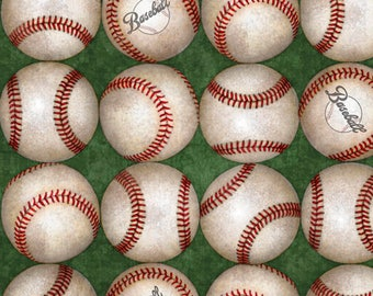 Grand Slam from Quilting Treasures - Full or Half Yard Baseballs on Green