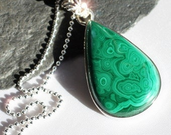 The Glory of Green -  Green Malachite Sterling Silver Necklace