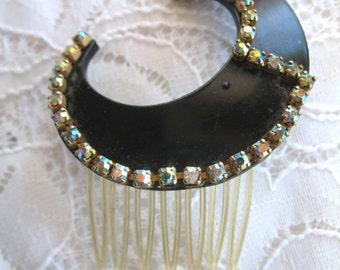 Vintage Art Deco Hair Comb ~ Black w/ AB Rhinestones