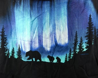Bear and Northern Lights T-Shirt, Made in USA