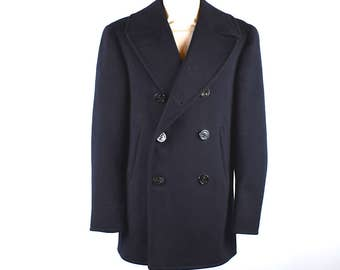 1940's Naval Pea Coat by Naval Clothing Depot, Size 36 || Boiled Wool Peacoat