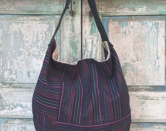 Handmade Purple and Navy Stripe Textile Hobo with Black Leather Handle