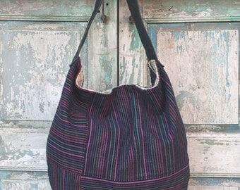 Purple and Navy Stripe Textile Hobo with Black Leather Handle, Handmade Hobo bag