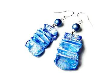 Artsy Earrings, Blue Dangle Earrings, Recycled Jewelry, Wearable Art Jewelry, Fiber Art