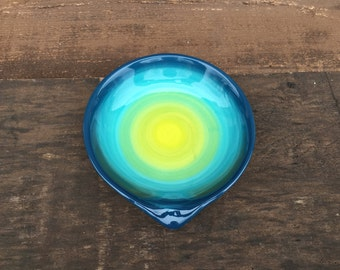 Peacock Ombre Ceramic Spoon Rest - Bright Colorful Gradient Design - Shades of Teals Lime Chartruese