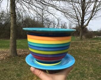 Medium Ceramic Flower Pot with Drip in Bright Rainbow Colors Stripes - Grape Purple Interior with Bright Teal Rim and Aqua Blue Dish