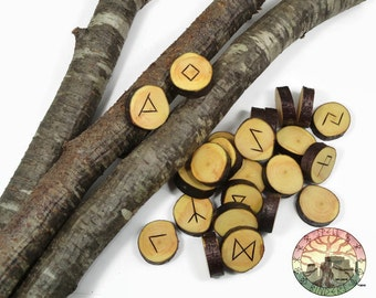 Wild Cherry wood Rune Set Elder Futhark with Manual & Pouch Hand Carved