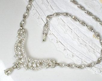 1920s Bride Rhinestone Statement Necklace, Art Deco Vintage BOGOFF Silver Pave Crystal Bib Link Gatsby Wedding Old Hollywood Glamour Bridal