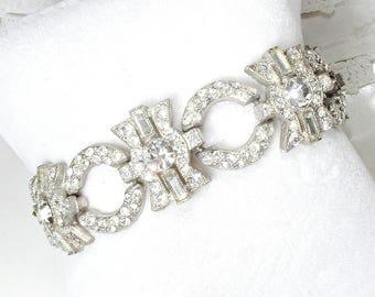 Original Art Deco Pave Rhinestone Bracelet, 1930's Antique French Paste WIDE Link Statement Silver 1920s Great Gatsby Bridal Vintage Wedding