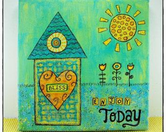 Canvas Wall Art - Enjoy Today - Painting Mixed Media Whimsical Home Sun Flower Quote