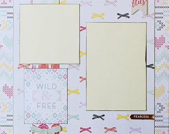 Wild - Free - Basic Premade Scrapbook Page 12x12 Layout for Album