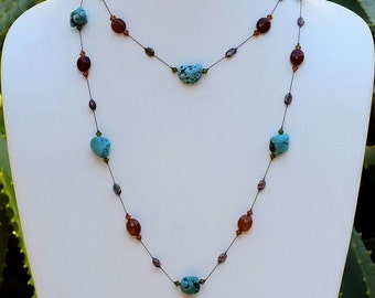 Long Necklace with Turquoise, Faceted Chalcedony and Faceted Andalusite beads- NK 157