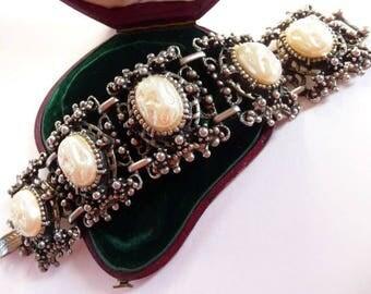 Renaissance Revival bracelet |  five panel wide cuff | ornate baroque unsigned | Selro Selini style | 1960s 70s