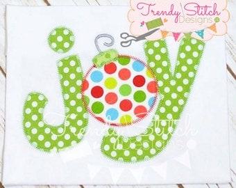 Joy Ornament Applique Design Machine Embroidery Design INSTANT DOWNLOAD Zigzag Stitch