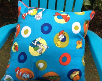 """Child's Pillow - Dr. Seuss Celebrations Tossed Characters Cotton With Minky On Back, 14"""" X 14"""""""