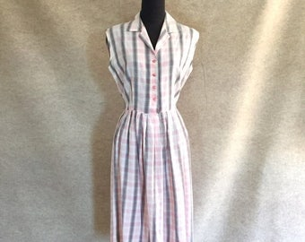 Vintage 50's Day Dress, ADORABLE Pink Plaid Sundress, Sleeveless, Rockabilly, Small to Medium, Bust 38, Waist 28