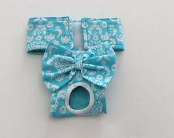 Female Dog Diaper - Britches - Dog Panty / Panties- Aqua and White Damask - Available in all Sizes