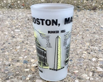 Vintage Boston Souvenir Frosted Glass