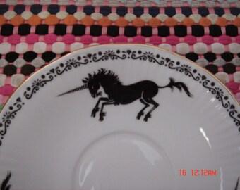 Vintage Schmid Queen Bone China Black Unicorns Saucer - Beautiful