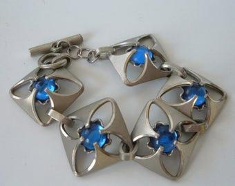 Danish Modern Pewter Link Bracelet Blue Glass Silver Bent Larsen Denmark MCM