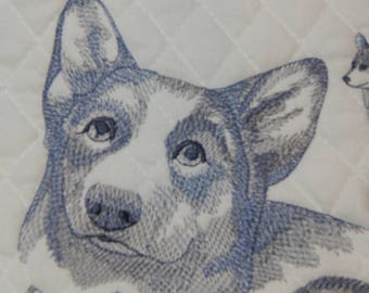 Corgi Embroidered Dog, Embroidered Quilt Block, Corgi Dog, Dog Art, Embroidered Dog Block, Quilt Block