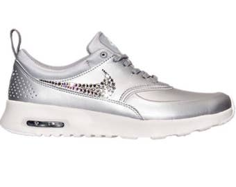 Bling Nike Air Max Thea Metallic Silver SE Shoes with Swarovski Crystals * Bedazzled with 100% Authentic Swarovski Crystal Rhinestones