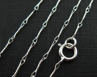 Sterling Silver Chain- Extra Fine Necklace Chain - Silver Necklace Chain- Fancy Twisted Wire Necklace Chain - All Sizes- Sku: 601007