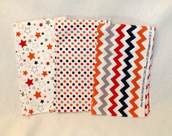SALE *** Boy Fabrics - Chevrons, Dots and Stars - Fat Quarter Set of 3 fabrics