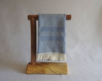 Small Countertop Log Hand Towel Holder (Clear Finish) - Handcrafted Rustic Log Cabin Furniture Decor
