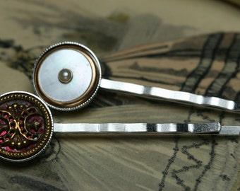 Antique Button and Vintage Cufflink Hair Pins - 2pc