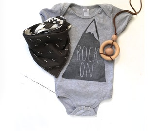 Mountain Graphic Infant Clothing, Rock On, Hand Printed, Gender Neutral, Little Adventurer, Outdoors Baby, Gray Baby Clothes, Vintage Look