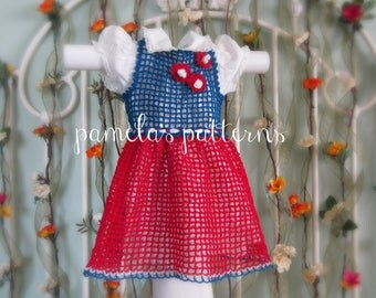 Crochet Stars and Stripes Filet Red White & Blue Infants Dress in a jiffy, 0 to 3 months, ePattern, PDF Pattern