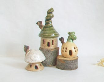 Fairy Houses - Garden Houses - Set of 3 - New Houses out of the Kiln  - Actual Set -  Ready to Ship -- Handmade on Potters Wheel