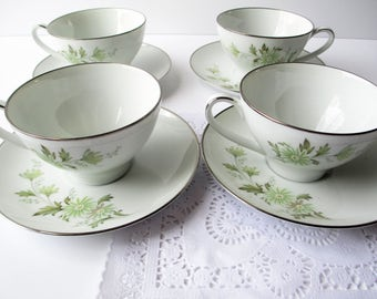 Vintage Noritake Teacups and Saucers Soroya Green Daisy Set of Four - Retro
