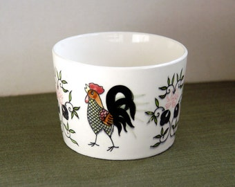 Ceramic Rooster Bowl, Pottery, 1950s Vintage Crock, Chicken Art, Farmhouse Home Decor, Kitchen, Dining, Original Label