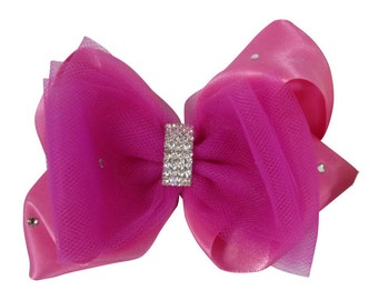 Shocking Pink Hair Bow with Swarovski Rhinestone Bling, Wedding Bow, Hair Clip for Bridal , Ivory or White